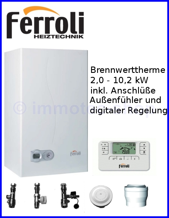 ferroli gas brennwertkessel brennwerttherme gastherme 10 kw aufputz komplett ebay. Black Bedroom Furniture Sets. Home Design Ideas